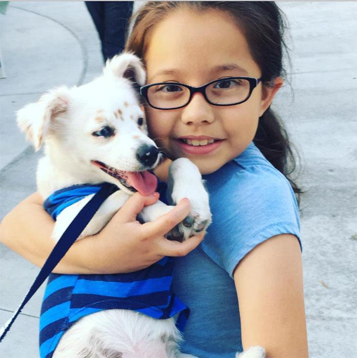 Niña enseña a su perro el lenguaje de señas
