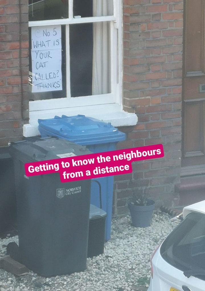 vecinos se comunican por letreros en sus ventanas