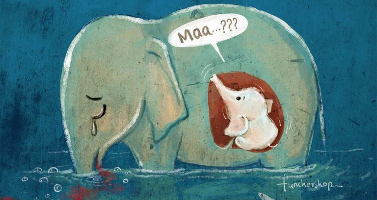 Artistas rinden tributo a elefanta embarazada que murió en Kerala