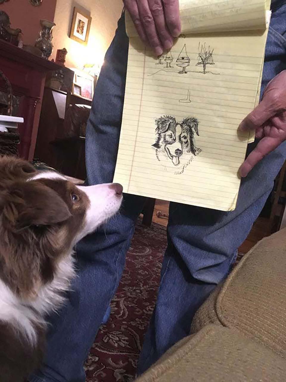 Papá dibuja a su mascota