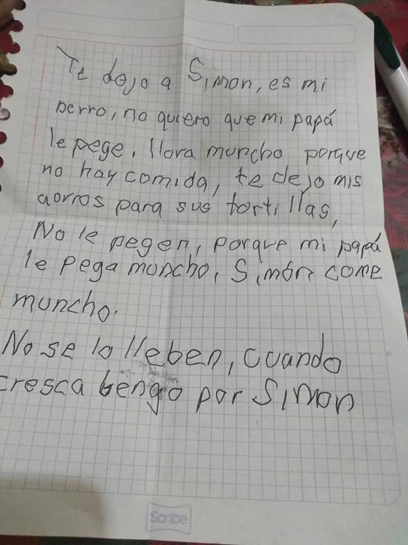 Niño escribe carta a su perro