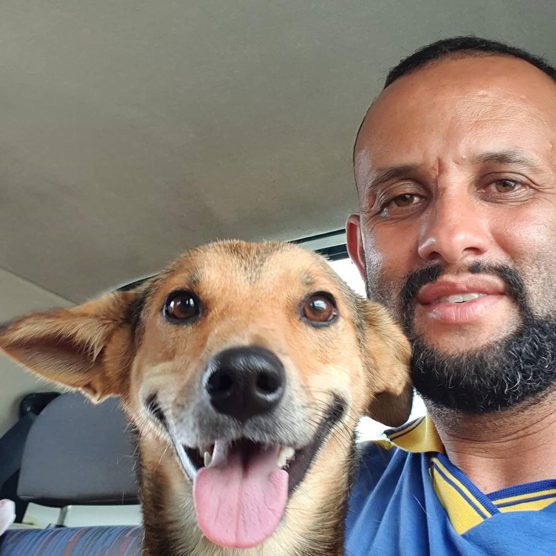 Adorable perrito y humano