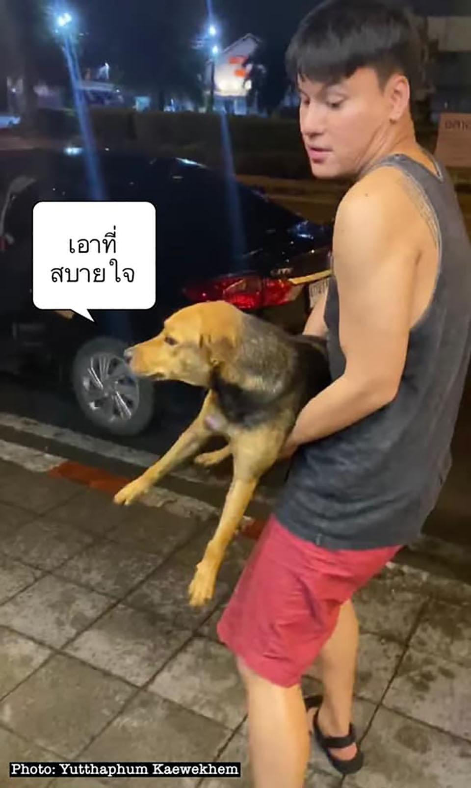 Chico ebrio se lleva un perro
