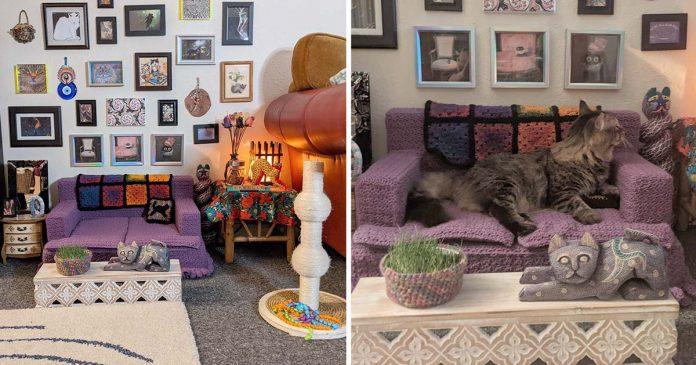 Mujer crea sala estar gatitas