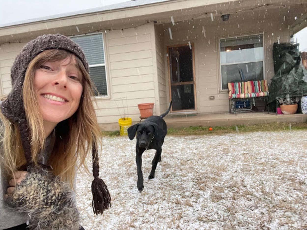 Perro ve la nieve por primera vez