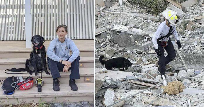Bombera y su perro caminan entre los restos de un condominio colapsado en busca de sobrevivientes
