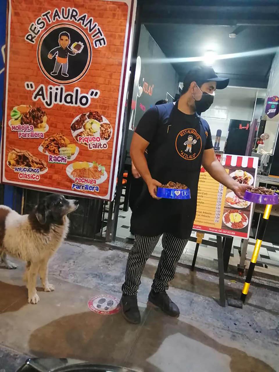 Dueño de un restaurante alimenta a perros sin hogar